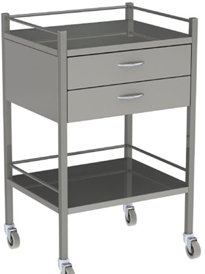 Two Drawer Stainless Steel Equipment Trolley