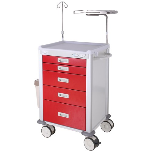 5 Drawer Emergency Trolley with Accessories