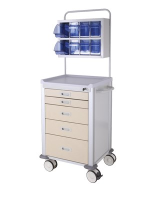 Anaesthesia Cart 680x530x1710mm 5 Drawers