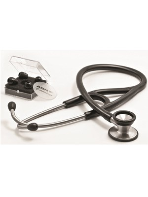 Cardiology Stethoscope with 2 Pairs of Tips (Black)